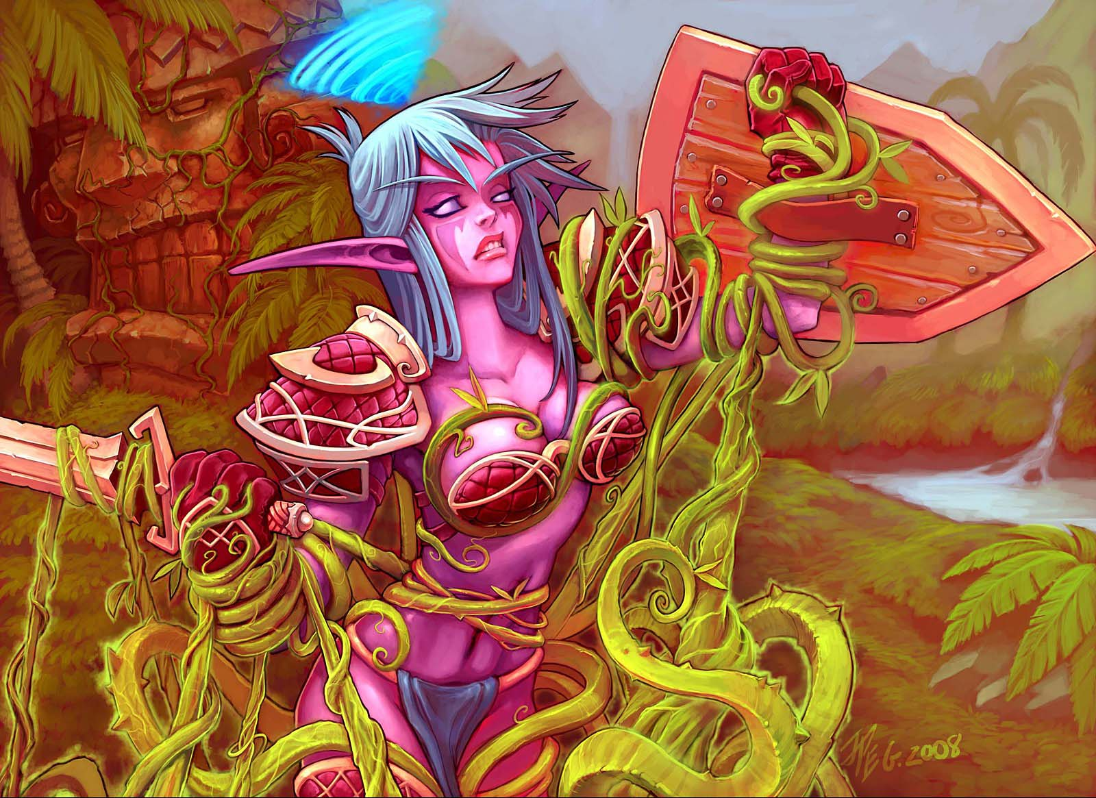 Trading card game art of night elf woman in skimpy armor fighting off vines.